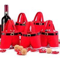 Christmas Decorations 5Pcs Creative Santa Pants Style Bag Lovely Cute Treat Stocking Tree Filler Sacks Xmas Gift
