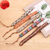 Handmade Jewelry Natural Stone Crystal Beads Leather Wrap Bracelet Women Yoga Chakra Boho Charm & Bangle Couple Gift