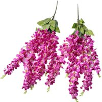 "Decorative Flowers & Wreaths One Silk Thai Orchid Fake Chlorophytum Artificial 27"" Freesia Bracketplant For Wedding Centerpieces Hanging Flo"