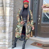 Women's Trench Coats Plus Size Camouflage Coat Women Autumn Casual Letter Print Pockets Long Sleeve Overcoat Female Outwear High Street