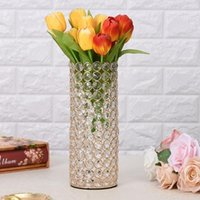 Vases 12pcs)Gold Crystal Cylinder Flower Vase For Christmas Wedding Holiday Table Centerpieces Qq480