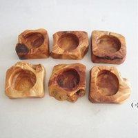 Cenicero de madera de madera soporte de ceniza marrón redondo humo cigarrillo cenicero personalizado labjetos marrón bolsillo cenicero sobre el hogar Ashtray OWC6841