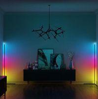 현대 플로어 램프 Dimmable RGB 코너 침실 분위기 실내 장식 스탠드 조명 제어 앱 또는 원격