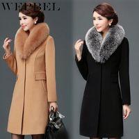 Women's Wool & Blends WEPBEL Women Woolen Coat Double Buckle Slim Trench Coats Lady Fur Collar Peacoat Winter Jackets Outerwear Plus Size