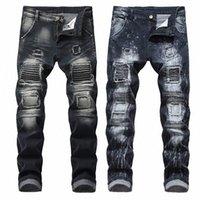 Artı Boyutu Pantolon Erkekler Sokak Kot Delik Hip Hop Pantolon Erkek Günlük Esneklik Pantolon 2020 Parti Orta Bel Kot 49wp #