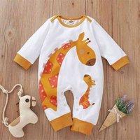 Estilo de invierno Infantil Born Baby Mamelero de algodón de manga larga Impresión de dibujos animados Jirafa Lindos trajes de ropa 210629