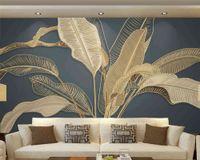 Beibehang пользовательские атмосферные банановые листья легкие роскошные золотая линия тиснение телевизор диван фона Papel de Parede обои