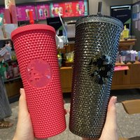 Starbucks Studded Tumblers 710ML Plastic Coffee Mug Bright Diamond Starry Straw Cup Durian Cups Gift Product 4426 Q2