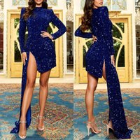 Evening Dresses for Women, High Neckline Sequined Velvet Satin Sinde Split Skirt Short Mini Formal Party Guest Cocktail Homecoming Gowns with Train