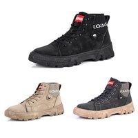 Erkekler için Yeni Bottes Yürüyüş Ayakkabıları Martin Çizmeler Tripe Siyah Beyaz Kauçuk Sert Giyen Yumuşak Alt Üç Renkler Erkek Trend Eğitmenler 40-45