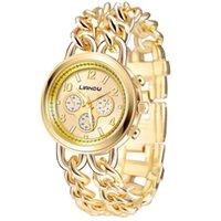 Watch-Legierung mit Edelstahl Große Zifferblatt Damen Doppelkette Armband Explosionsmodelle Mode Frauen Uhren Armbanduhren