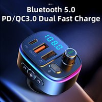 Car Bluetooth 5.0 FM Transmitter Car MP3 Player U Disk Music Car Charger Type-C PD QC3.0 Fast Charging 7 Color Ambient Light