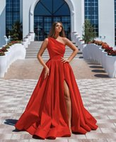 Sexy Red Evening Dresses 2021 With Dubai Formal Gowns Party Prom Dress Arabic Middle East One Shoulder High Split Custom Made