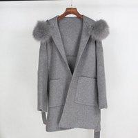 Women's Fur & Faux Real Coat Winter Jacket Women Loose Natural Collar Cashmere Wool Blends Outerwear Streetwear Oversize