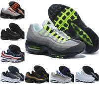 Оптом ультра 95 og x 20-летие мужчины бегущая спортивная обувь 95s тренер авиалов черный единственный серый синий высококачественный преувеличенный теннис
