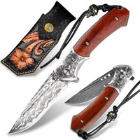 Hand-forged Damascus Steel Folding Knife Pocket Wooden Handle EDC Tool Outdoor Camping Multi-purpose Knives Survival Hiking Mountaineering Fishing Equipment