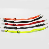 Pet supplies car seat belt, dog leashes, buffer elastic reflective safety rope leash 7 colors 2021