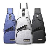 Outdoor Bags Shoulder Crossbody Bag For Men USB Charging Anti Theft Chest Canvas School Backpack Satchel Waist Pack