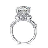 여성용 패션 크라운 결혼 반지 라운드 컷 3CT 시뮬레이션 다이아몬드 CZ 925 스털링 실버 여성 약혼 밴드 링 55 R2