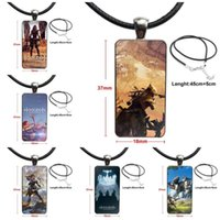 Pendant Necklaces For Women Gift Game Horizon Dawn Aloy Glass Cabochon Necklace Rectangle Fashion