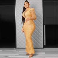 Luxury Gold Africa Evening Dresses Mermaid Plus Size Long Sleeves High Neck Keyhole Front Aso Ebi Prom Party Gowns 2021