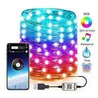 Cordes USB LED String Lights Smart Bluetooth Smart Bluetooth Personnalisé RGB Fairy Personnalisé Application Télécommande de la décoration de l'arbre de Noël