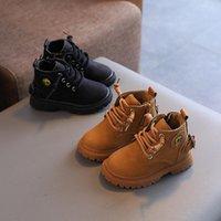 Boots Autumn Winter Warm Kids For Girls Boys Fashion Leather Soft Bottom Non-slip Children Square Heel Shoes
