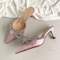 المصممين الفاخرة اللباس الأحذية مساء سهرة ساتان القوس مضخات 6.5 سنتيمتر كريستال-الزينة حجر الراين أحذية بكرة الكعوب الصنادل للنساء الأحذية المصنع