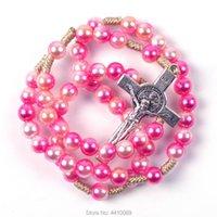 Pendant Necklaces Colorful Plastic Imitation Pearl Bead Catholic Cord Rosary St Benedict Cross