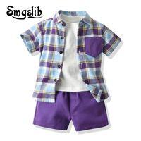 Giyim Setleri Smgslib 2021 Moda Çocuk Erkek Beyefendi Giysileri Kısa Kollu Ekose Gömlek + Beyaz Gömlek + Şort 3 adet Çocuk Casual Suit