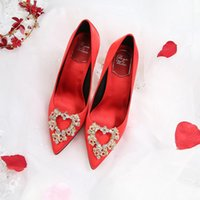Sandales The Bride Rouge Mariage Chaussures Satin Strass Stiletto High High Talons Style coréen pointu