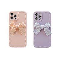 Cartoon roxo bowknot telefone caso para iphone 12 11 pro máx x xr xs max 7 8plus borl case macio tampa tpu capa para iphone12pro