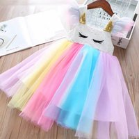 2021 Unicorn Children's Clothing Summer New Princess Girl Cartoon Wimper Stitches Raiow Dress
