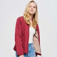Parka Winter clothe Temperament Lapel Single-Breasted Slim Warm Spinning Cotton-Padded Jacket Coat Park 211006