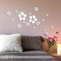 Mirrors Flower Acrylic Mirror Sticker Environmental Protection Material Odorless Home Living Room Bedroom Wall Decoration