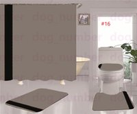 Luxury Striped Shower Curtain 3D Letter Floral Designer Toilet Seat Case Non Slip Bathroom Rug 3pcs Set