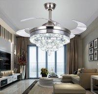 Роскошные хрустальные потолочные вентиляторы светло-дистанционное управление димминговое освещение 3 кольца 4 кольцо разработано 42 дюйма 110V 220V 30-60W