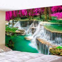 도매 3D 비치 타월 폭포 풍경 아름 다운 숲 스트림 인쇄 벽 카펫 요가 매트 홈 장식 태피스트리