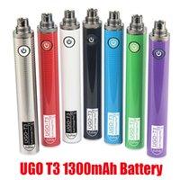 Auténticas baterías de UGO T3 1300mAh 510 Hilo Vape Pen Precalentamiento de la batería Voltaje Variable Dual Cargador Puerto ECIG para el aceite grueso Vapes Cartuchos 100% genuinos