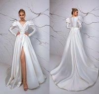 Vintage Matte Stain Robes De Mariée 2021 Volants à manches longues Front Split Slip Share Country Boho Robes de mariée Vestidos de Novia