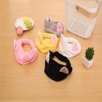 Cute Cat Ears Hair Band Headband Face Scarf Wide Head With Female Cartoon Shower Caps