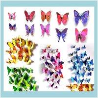 Décor Ev Garencinderella Dekorasyon 12 ADET Kelebekler 3D Kelebek PVC Çıkarılabilir Duvar Çıkartmaları Butterflys Damla Teslimat 2021 1O0BZ