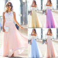 Long Maxi Bridesmaid Lace Party Women Dress Fashion Sleeveless Wedding Elegant Casual Wear