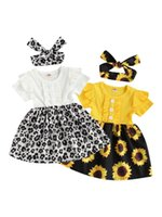 Toddler Baby Girls Floral Round Neck Short Sleeve One-Piece Ruffle Dress For Summer Fall, White Yellow Clothing Sets