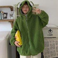 Women's Hoodies & Sweatshirts QWEEK Kawaii Frog Hoodie Women Cute Zip Up Sweatshirt Animal Ears Zipper Pullover Korean Style 2021 Sweet Gree