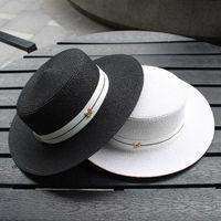 حافة واسعة القبعات 2021 م إلكتروني شقة أعلى القش قبعة الشريط boater شاطئ المرأة الصيف فيدورا بنما السفر كاب الشمس