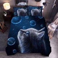 거품 고양이 침구 세트 파란색 3D 갤럭시 고양이 동물 인쇄 된 이불 커버 필로우 케이스 홈 텍스타일 전체 여왕 킹 사이즈 퀼트 세트