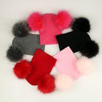 Kids Pom Pom Beaies INS Winter Knitted Hat Warm Wool Hat Skull Beanie detachable Double Fur Ball Children Knit Outdoor Caps LJJA2835