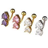6 renkler ters kristal bar göbek yüzük altın vücut piercing düğme göbek iki kalp vücut delce takı 271 Q2