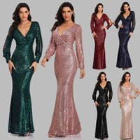 Party Dresses Sexy V-neck Mermaid Evening Dress Long Formal Prom Gown Full Sequins long Sleeve Galadress Vestidos Women H646